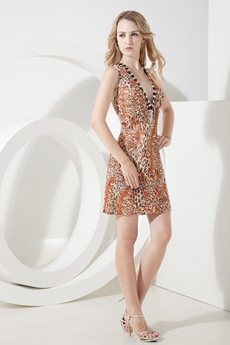 Sexy Plunge Printed Leopard Wedding Guest Dress