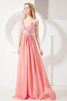 Watermelon Plunge V-neckline Cut Out Evening Dress