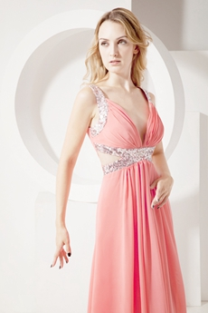 Watermelon Plunge V-neckline Cut Out Evening Dress
