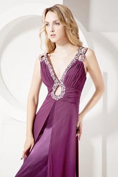 Stylish Grape Chiffon Prom Dresses With Cut Out