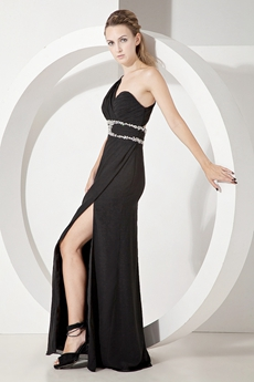Sexy Black One Shoulder Evening Dresses with Slit