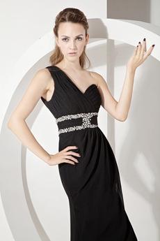 Sexy Black One Shoulder Evening Dresses with Slit