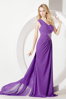 Fashionable One Shoulder Purple Chiffon Prom Dresses with Slit