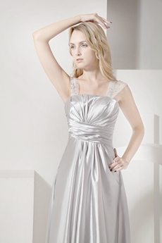 Simple Silver Straps A-line Full Length Prom Dress
