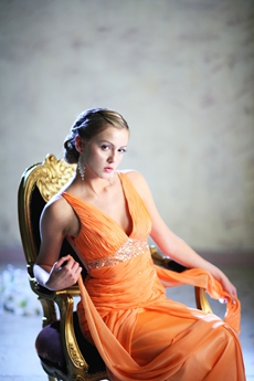 Sexy Deep V-Neckline Orange Chiffon Prom Dresses Illusion Back