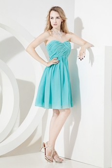Simple Aqua Mini Short Junior Prom Dresses