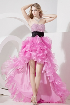 Fashionable Hot Pink Sweetheart High-low Cocktail Dresses
