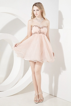 Cute Champagne Puffy Damas Dress