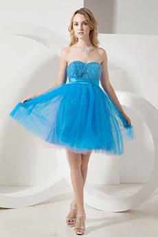 Beautiful Puffy Mini Turquoise Plus Size Summer Cocktail Dress