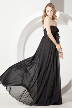 Charming Black Chiffon Empire Plus Size Prom Dresses