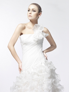 Glamour One Shoulder Multi-Ruffled Organza Wedding Dress
