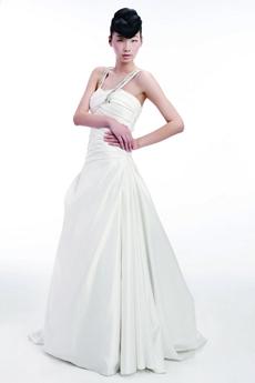 Double Straps White Satin Destination Wedding Dress Pleated Bodice