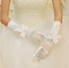 Elbow Fingertips Elastic Woven Satin Wedding Gloves