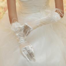 Handmade Flower Elbow Feather Wedding Glove