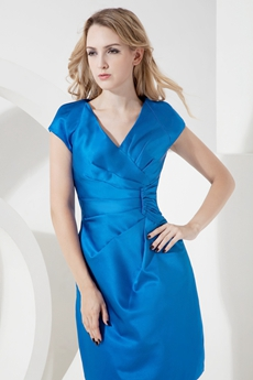 Simple Turquoise V-Neckline Wedding Guest Dresses with Short Sleeves