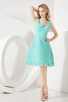 Square Neckline Aqua Lace Wedding Guest Dress