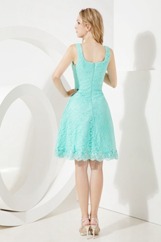 Square Neckline Aqua Lace Wedding Guest Dress