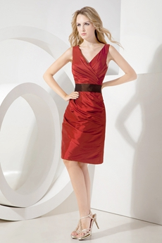 Best Dark Red Knee Length Mother of Bride Dress