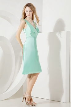 Simple Sage V-neckline Short Bridesmaid Dresses