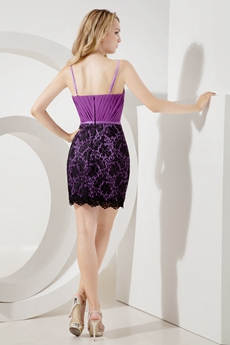Cute Spaghetti Straps Mini Lilac & Black Wedding Guest Dresses