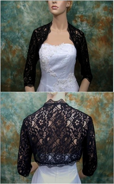 Gothic 3/4 Sleeves Black Lace Jacket