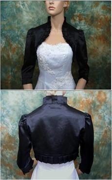 3/4 Sleeves Black Satin Jacket