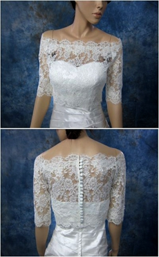 Half Sleeves Off The Shoulder Lace Jacket