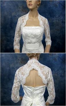 Keyhole Back 3/4 Sleeves Lace Jacket