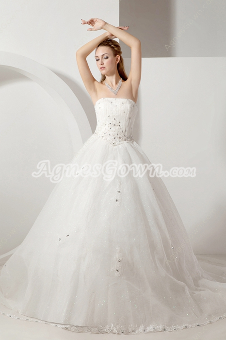 Dramatic Strapless Princess Wedding Gowns With Handmade Flowers