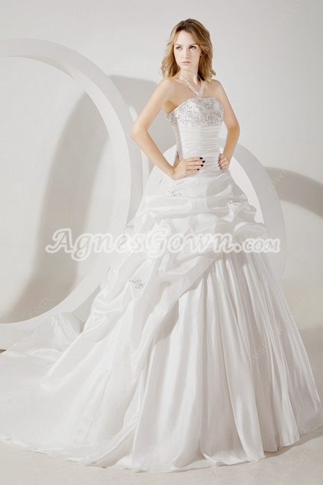 Magnificent White Taffeta Wedding Dress 2016
