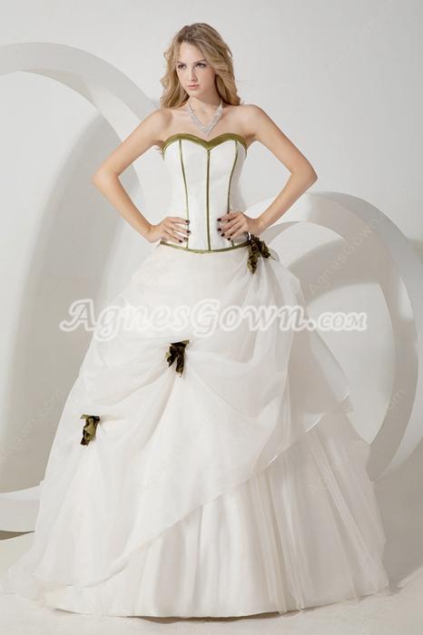 Classy Sweetheart White & Green Ball Gown Sweet 15 Dress