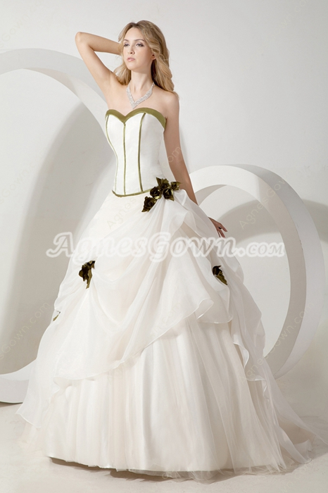 Classy Sweetheart White & Green Ball Gown Sweet 15 Dress
