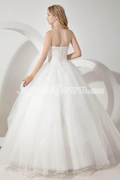 Classy Dipped Neckline Ball Gown Wedding Dress With Great Handworks
