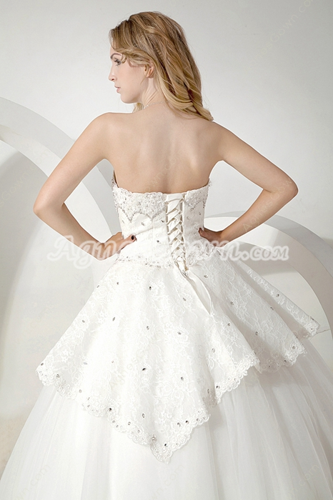 Shallow Sweetheart Ball Gown White Wedding Dress With Lace