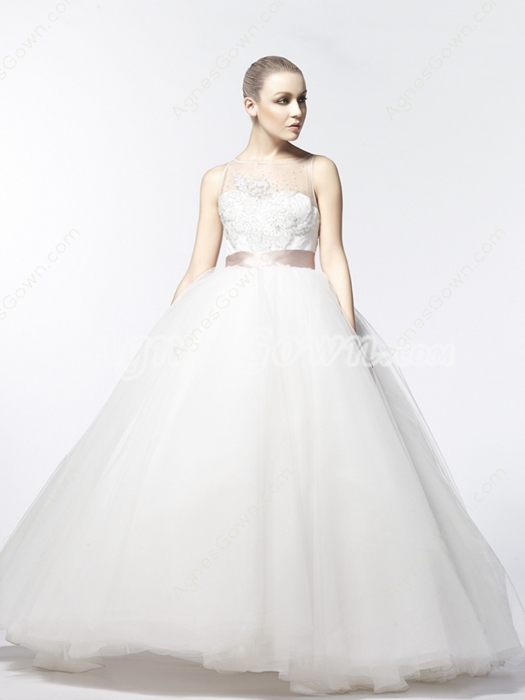 Bateau Neckline Ball Gown Wedding Dress With Beads
