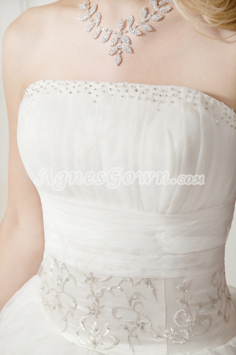 Terrific Strapless White Princess Quinceanera Dresses