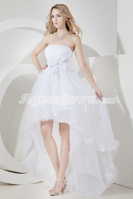 Dazzling Strapless High Low Beach Wedding Dresses With Bowknot