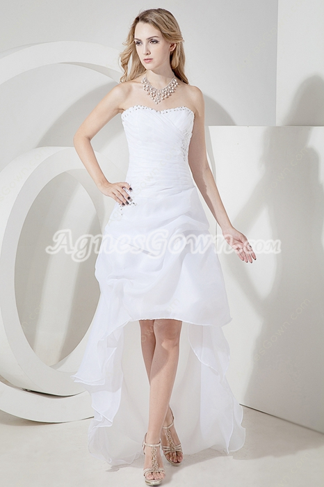 Sweet Organza Beach Wedding Dress with High low Hem