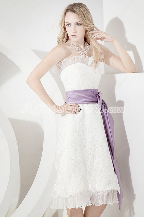 Elegant Lace Beach Wedding Dresses With Sash
