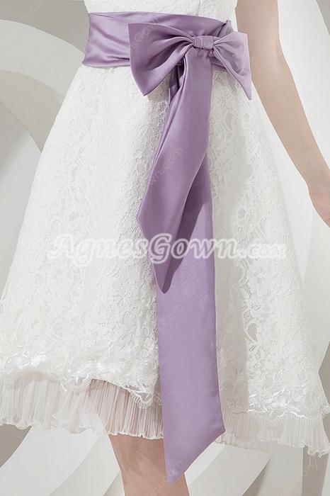 Elegant Lace Beach Wedding Dresses With Sash