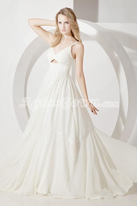 Casual Spaghetti Straps Chiffon Beach Bridal Dresses