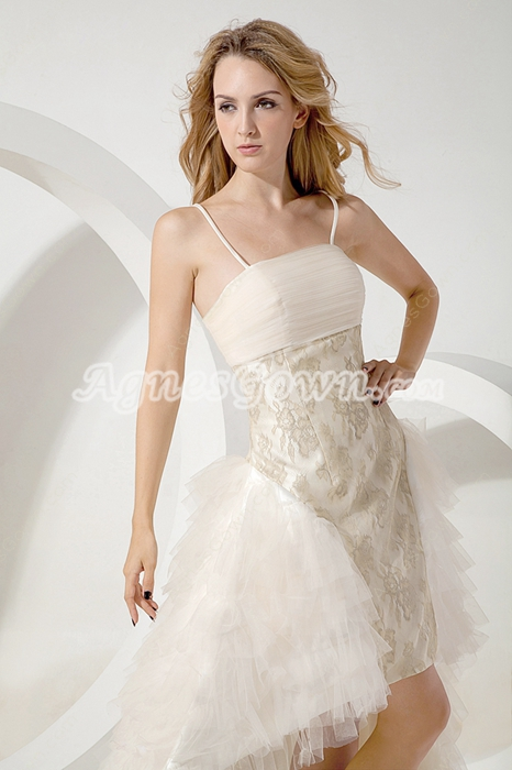 Champagne Hawaii Beach Wedding Dress High Low Hem