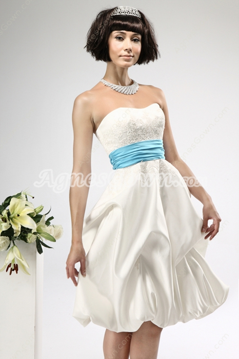 Knee Length White Beach Wedding Dress With Blue Sash