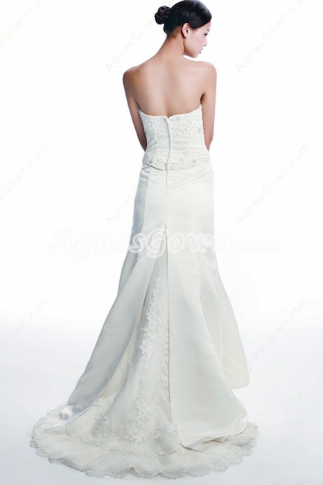 Exquisite A-line Satin Wedding Dress With Lace