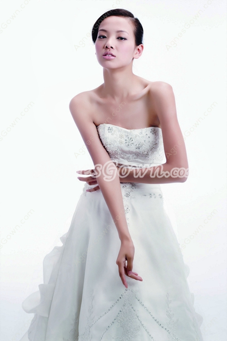 Dipped Neckline Lace Up Wedding Dress With Beads