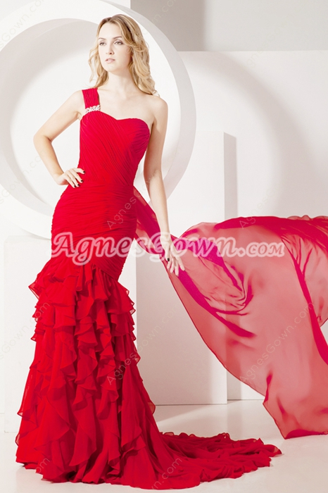 Pretty Red One Shoulder Fishtail Celebrity Dresses With Ruffles