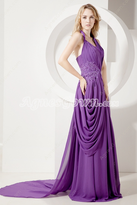 Elegant Purple Halter Chiffon Celebrity Dresses