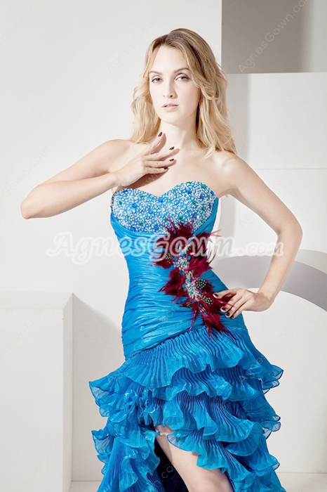 Best Sweetheart Turquoise Cocktail Evening Dresses With Ruffles
