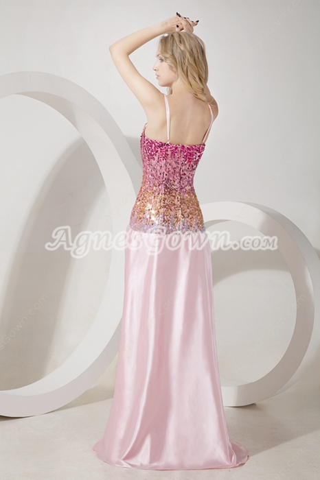 Unique Spaghetti Straps Multi Colored Evening Dress Front Slit