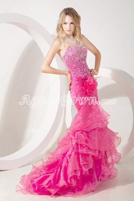 Pretty Organza Fuchsia Mermaid Sweet Sixteen Dress